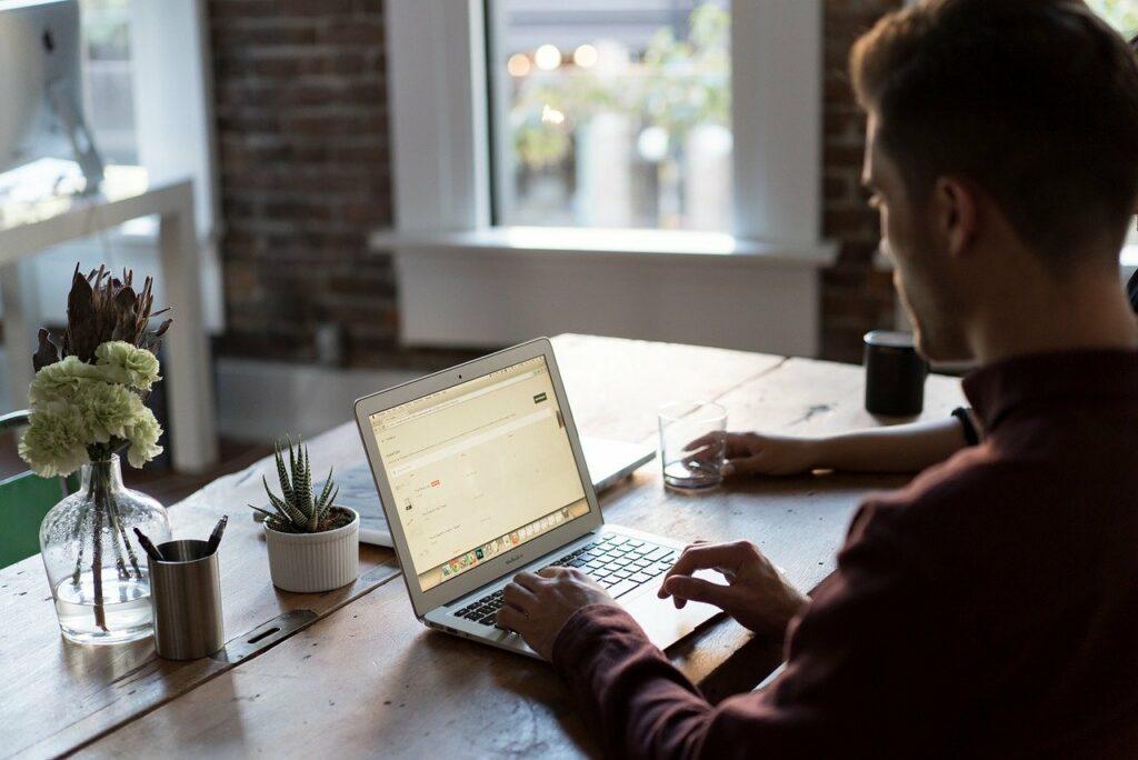 office, office desk, laptop